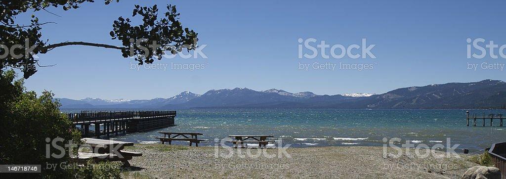 Lake Tahoe Picnic - Panorama stock photo