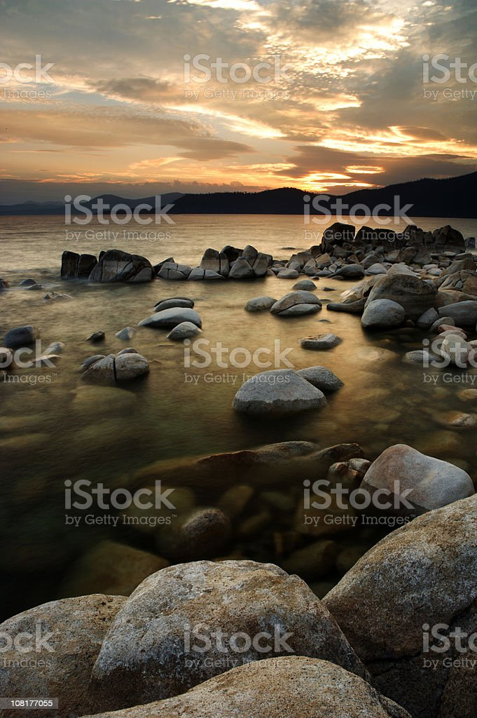 Lake Tahoe Shoreline at Sunset stock photo