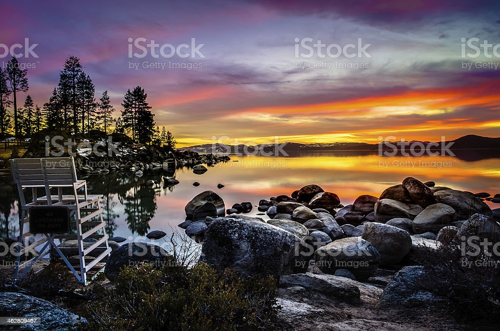 Lake Tahoe Sunset stock photo