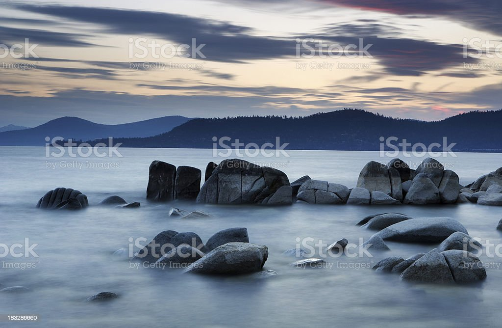 Lake Tahoe Twilight stock photo