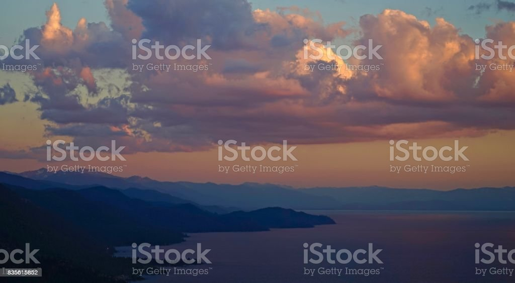Lake Tahoe Twilight stock photo