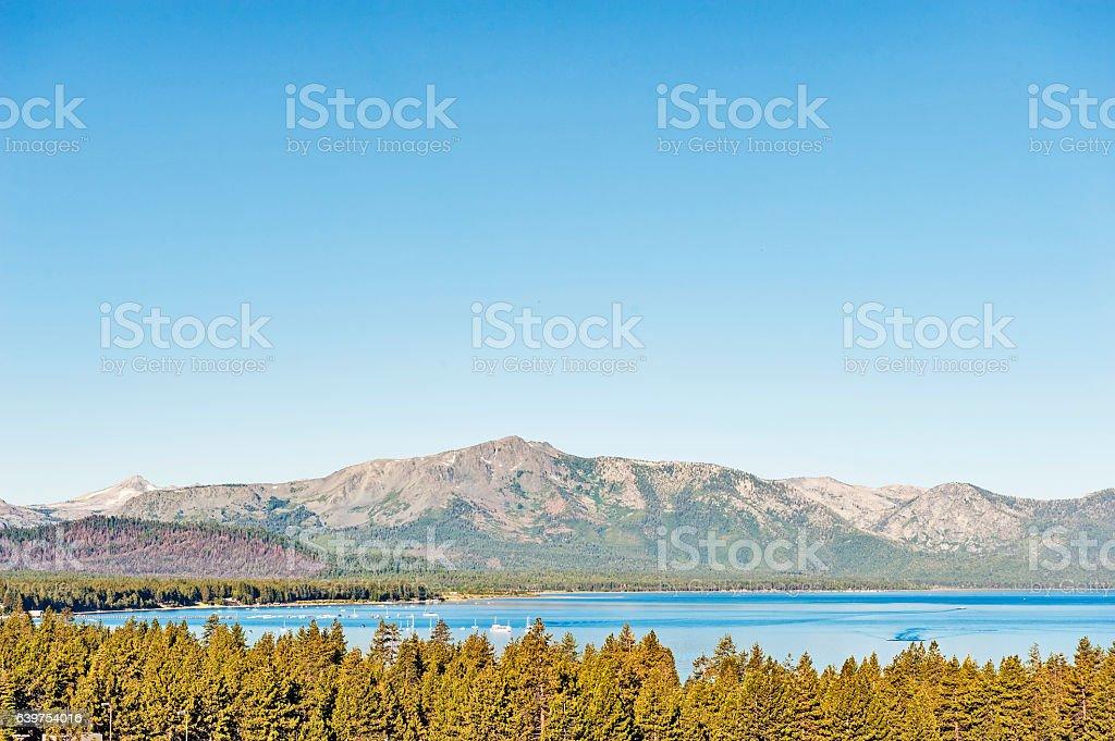 Lake Tahoe with Sierra Nevada Mountains stock photo