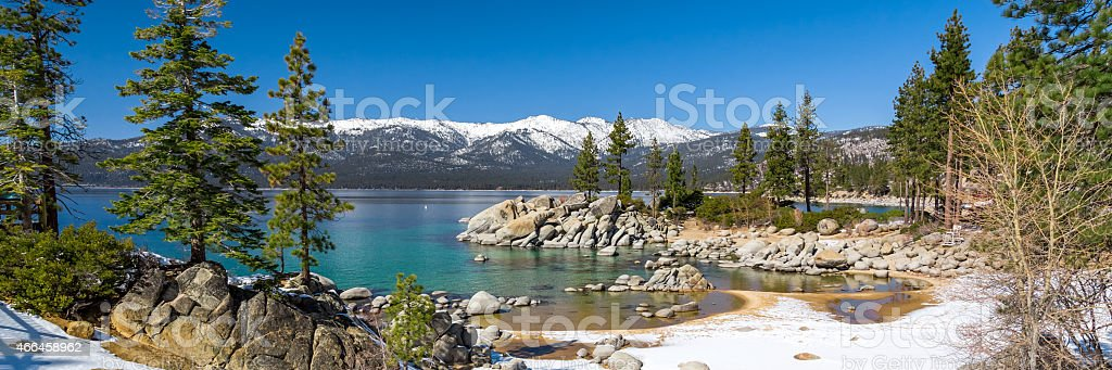 Lake Tahoe with snow panorama stock photo