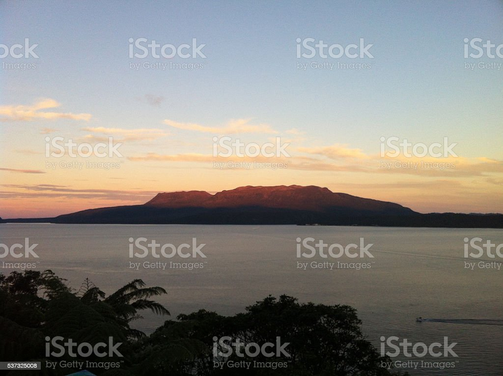 Lake Tarawera at dusk stock photo