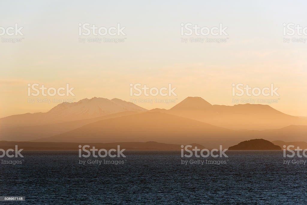 Lake Taupo at dusk stock photo