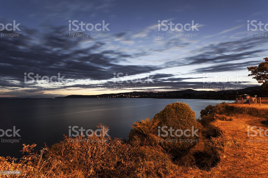 Lake Taupo at sunset stock photo