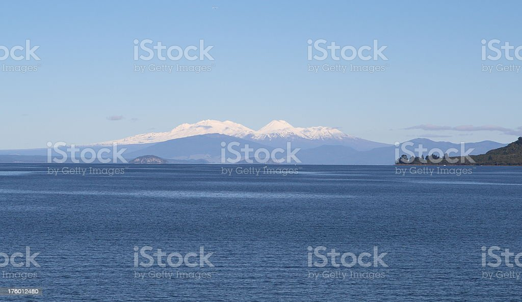 Lake Taupo during Winter. Mt Ruapehu is in the distance stock photo