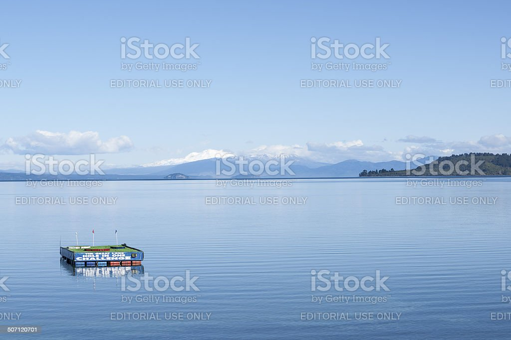 Lake Taupo on clear winter day. stock photo