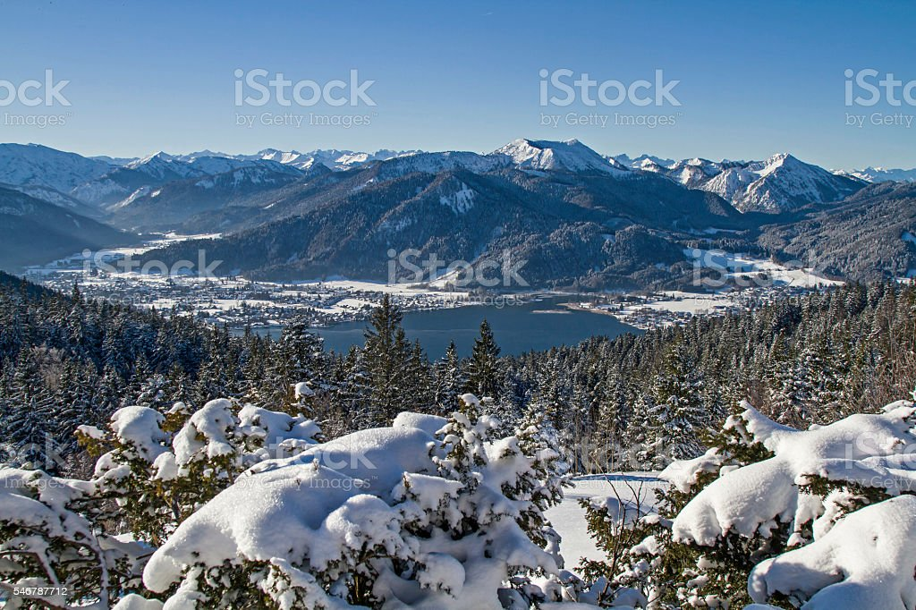 lake Tegernsee in winter stock photo