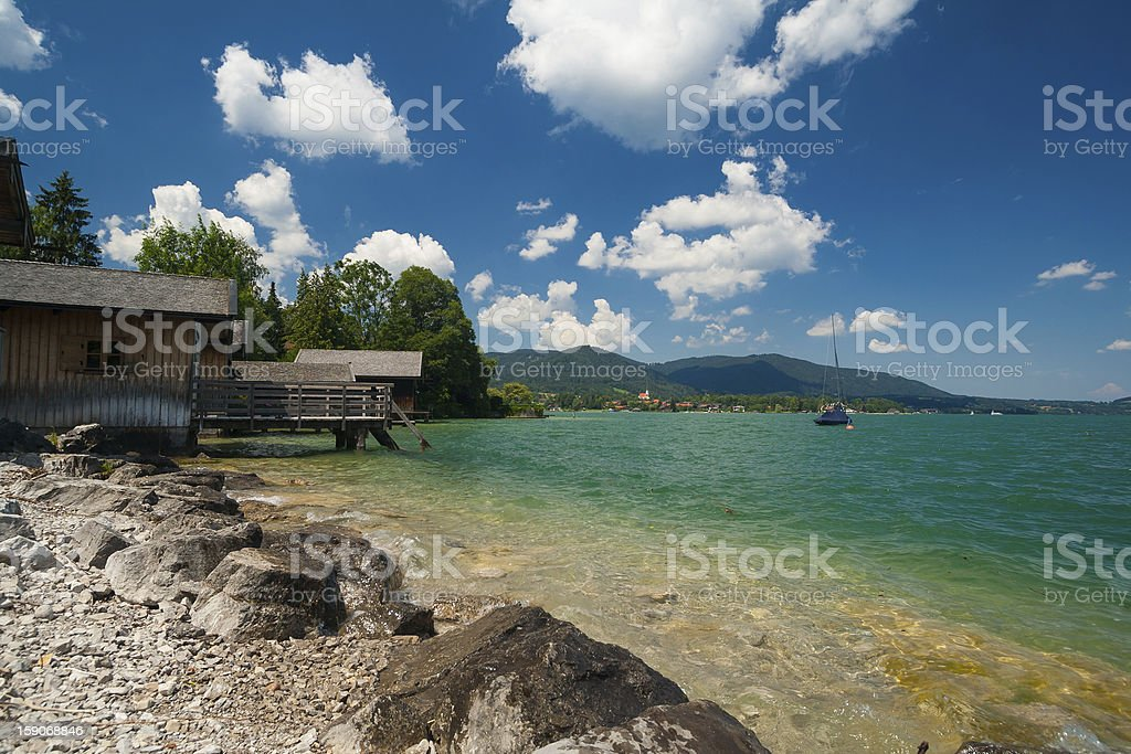 Lake Tegernsee near the town Rottach-Egern stock photo