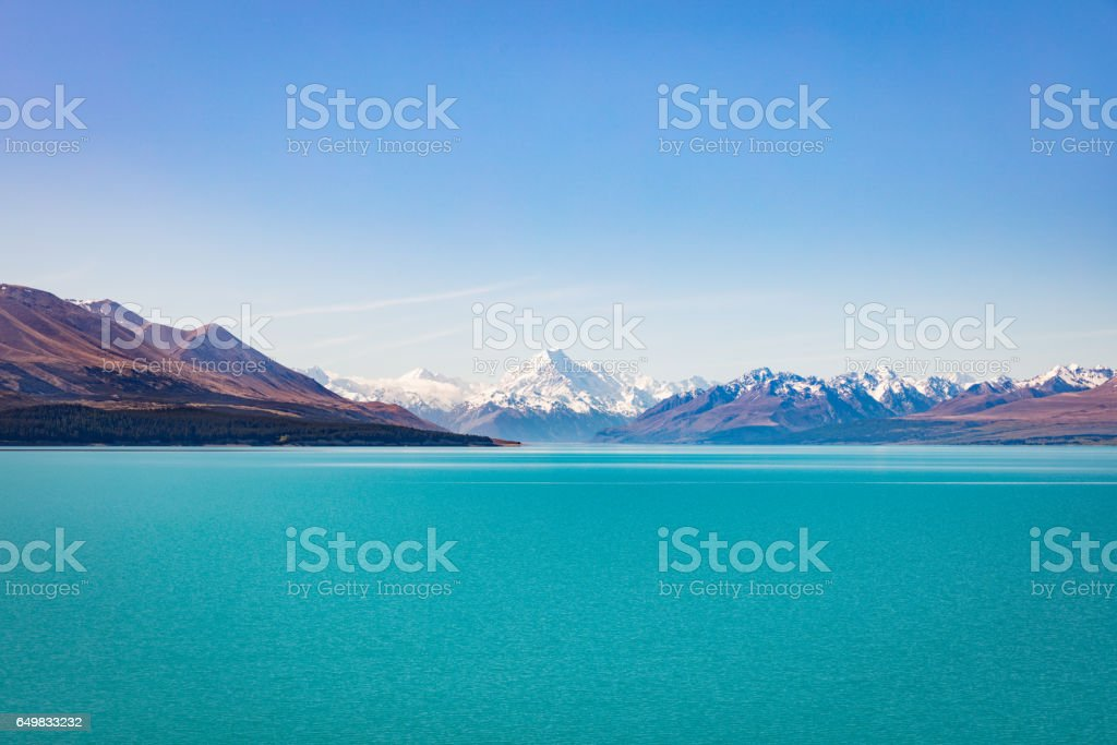 Lake Tekapo Aoraki Mount Cook New Zealand stock photo