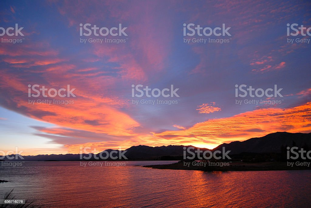 Lake Tekapo at Dawn, New Zealand stock photo