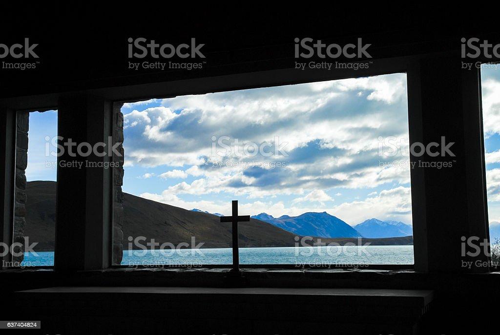 Lake Tekapo from Church of the Good Shepherd, New Zealand stock photo
