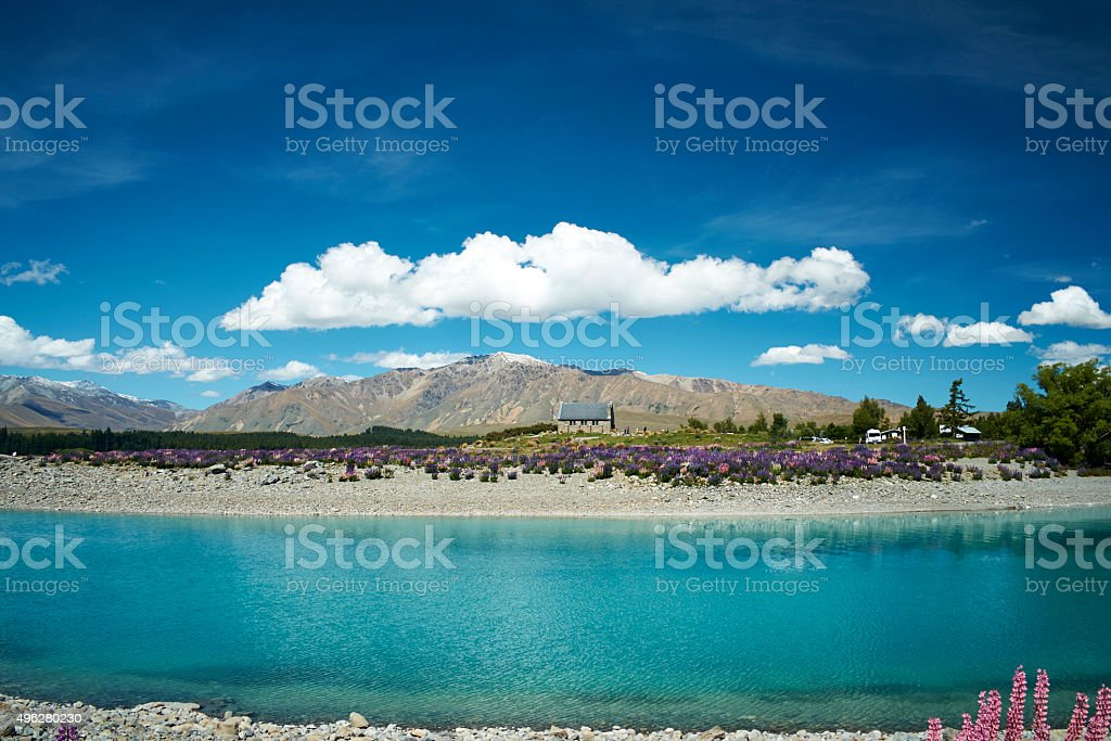 Lake Tekapo Scenic New Zealand stock photo