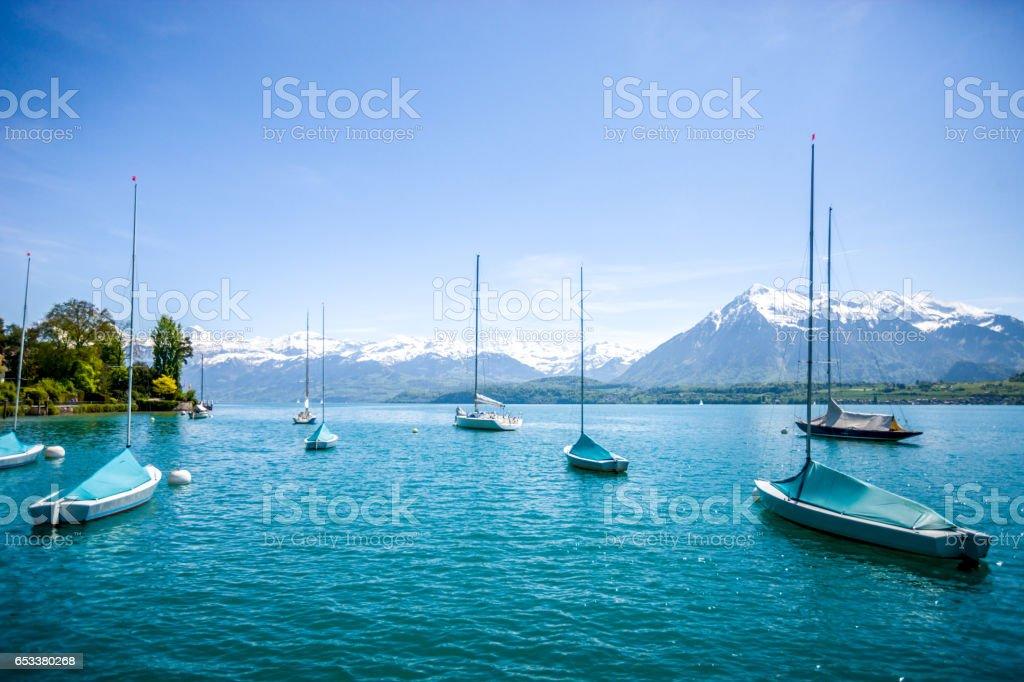 Lake Thun and Swiss Alps, Switzerland stock photo