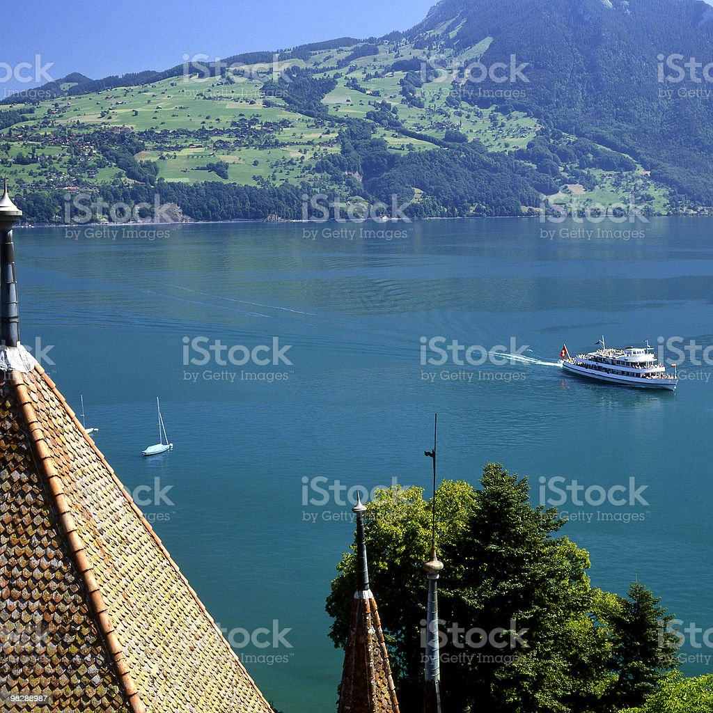 Lake Thun from Spiez in Switzerland stock photo