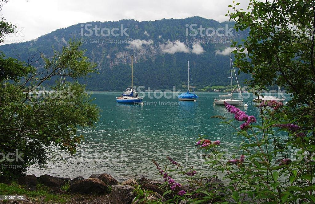 Lake Thun in Switzerland stock photo