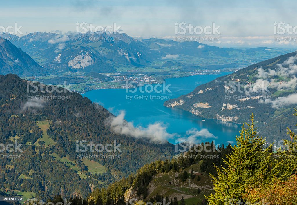 Thunersee in Berner Oberland stock photo