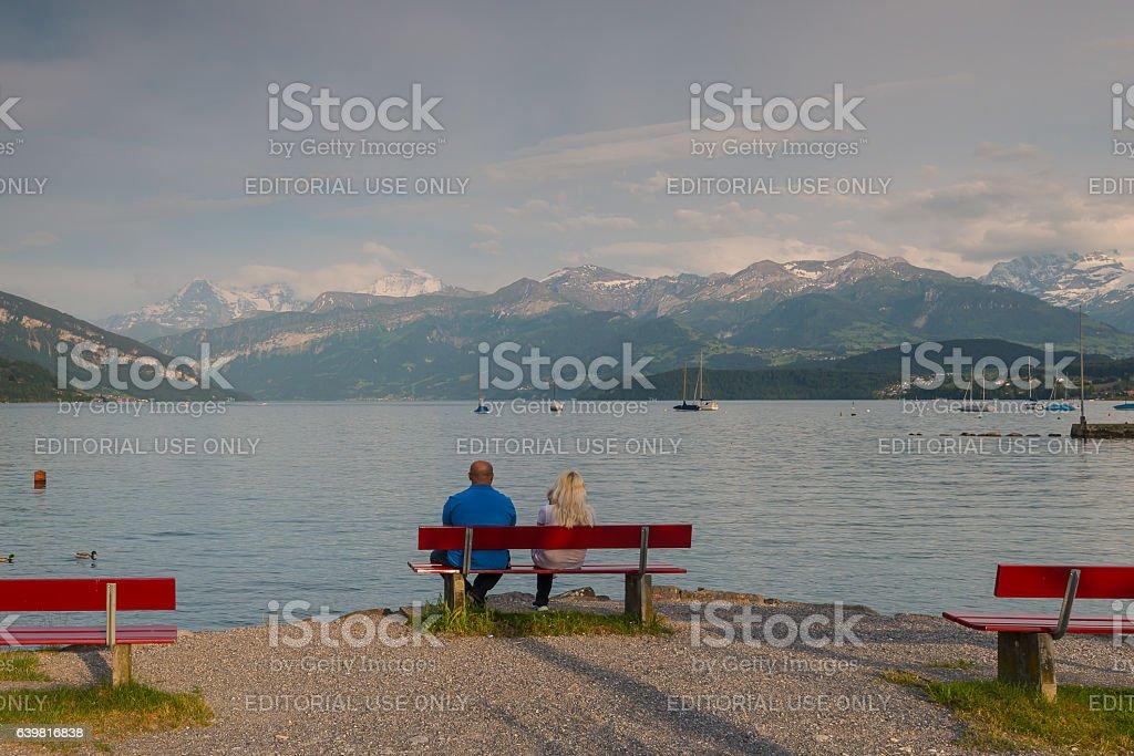 Lake Thun, Switzerland stock photo