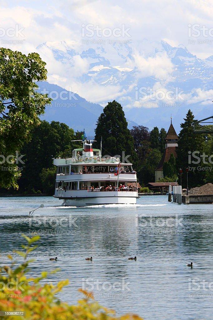 Lake Thun with ship royalty-free stock photo