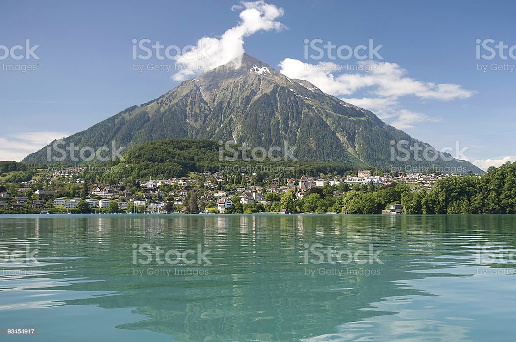 Lake Thun with village Spiez and Mount Niesen, Switzerland stock photo