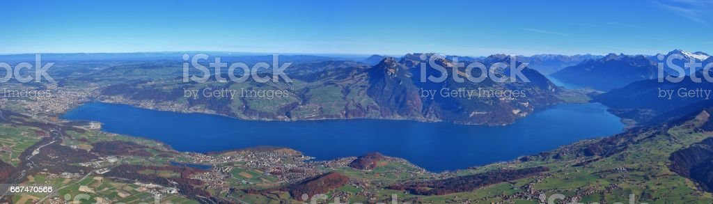 Lake Thunersee seen from mount Niesen stock photo