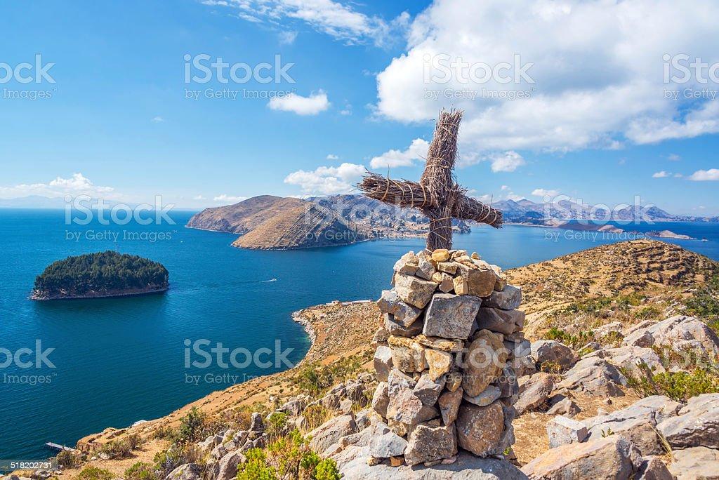 Lake Titicaca Cross stock photo