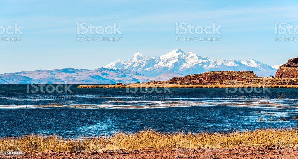 Lake Titicaca from the bolivian side stock photo