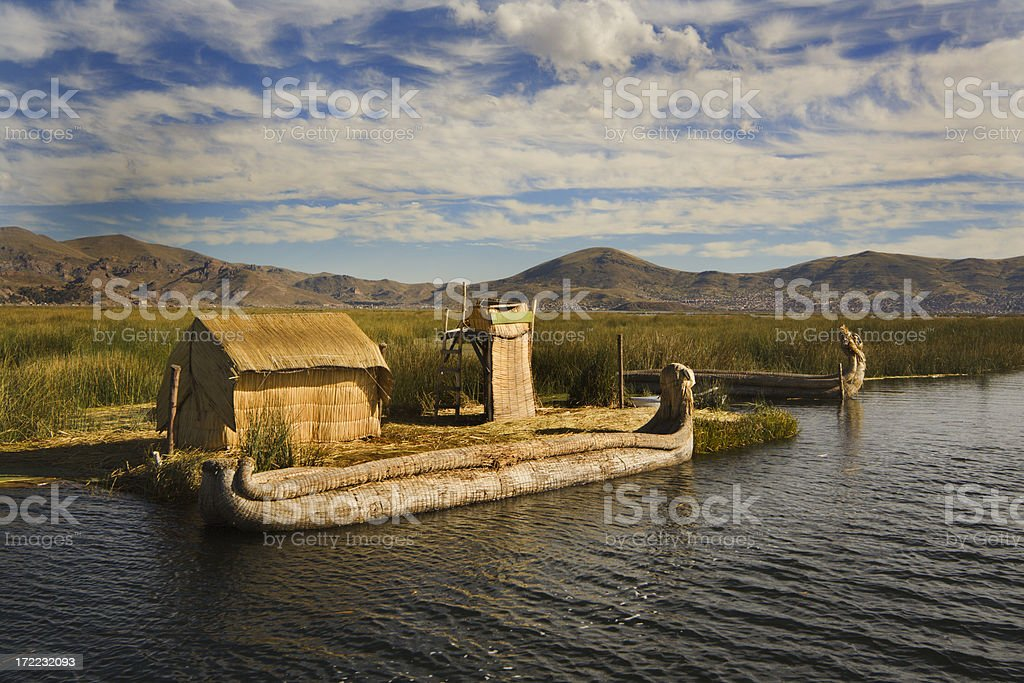 Lake Titicaca Reed Boat royalty-free stock photo