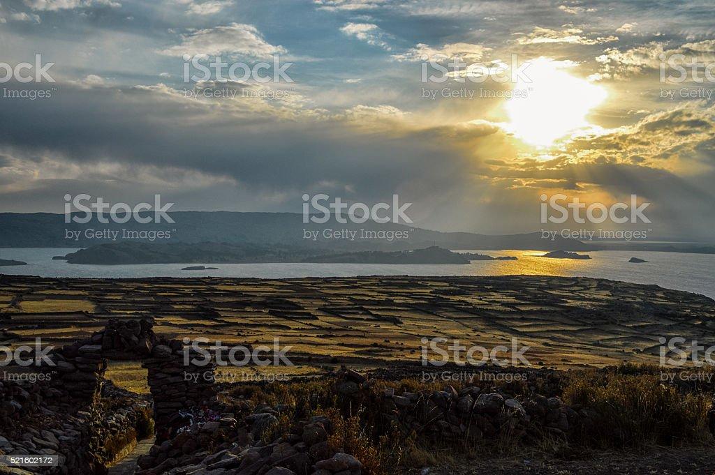 Lake Titicaca Sunset stock photo