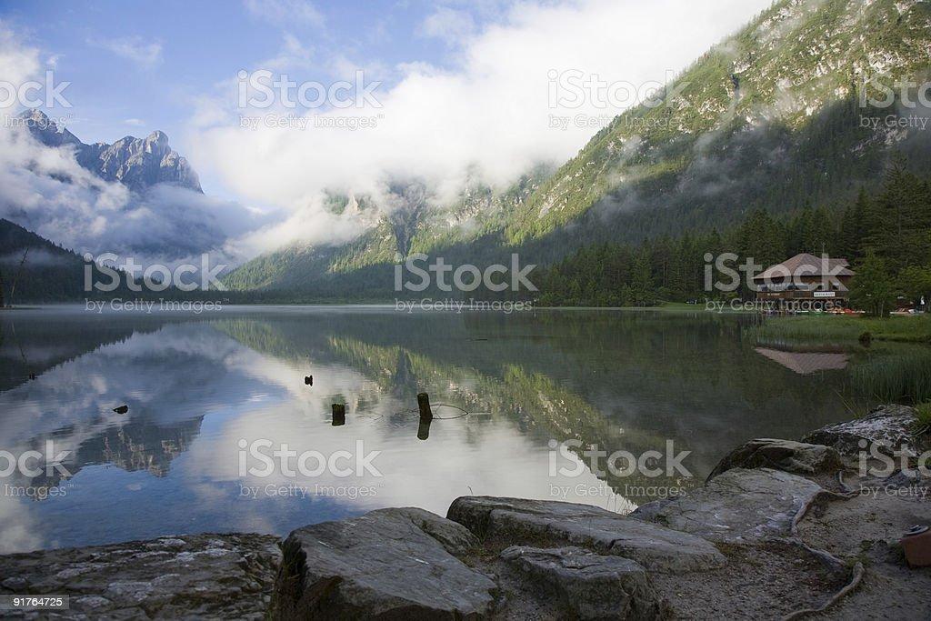 Lake Toblach stock photo