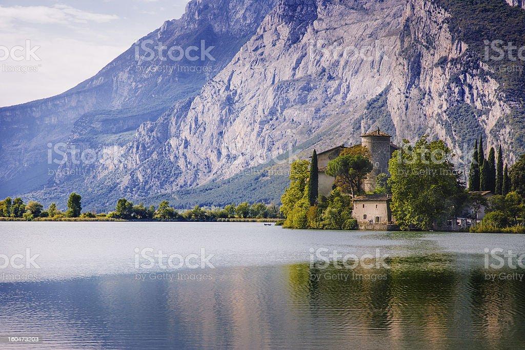 Lake Toblino and Castle. Trentino, Italy. royalty-free stock photo