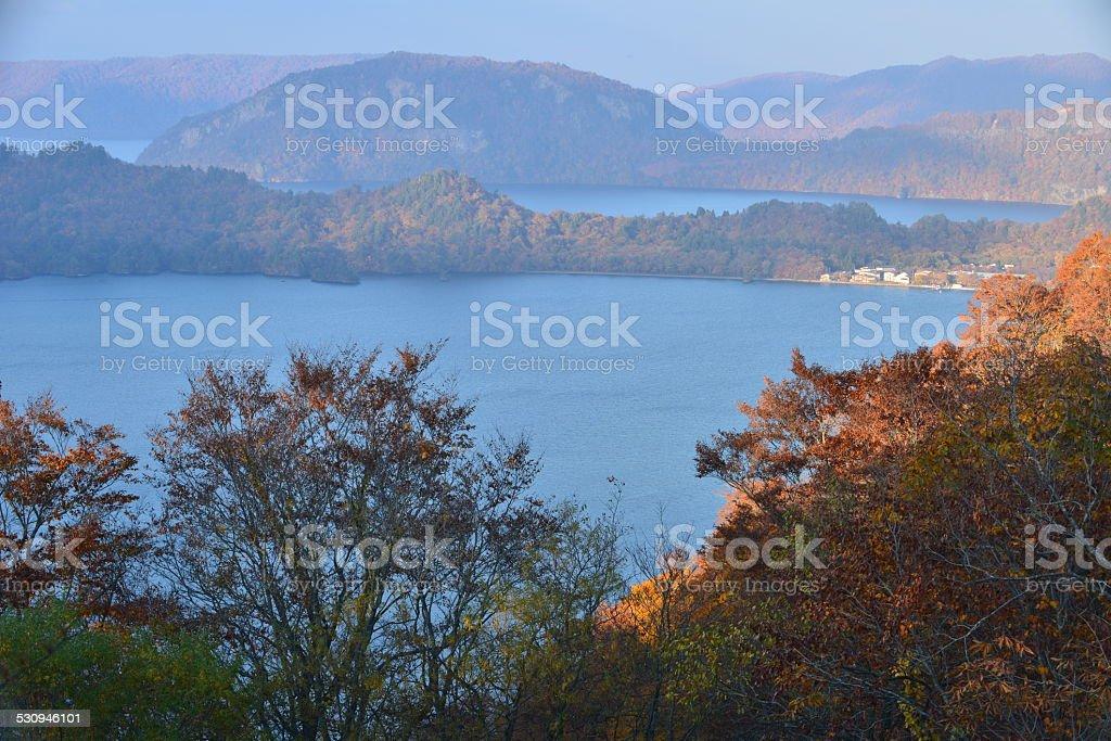 Lake Towada in Autumn stock photo
