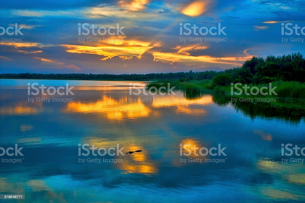 Lake Trafford Sunset stock photo