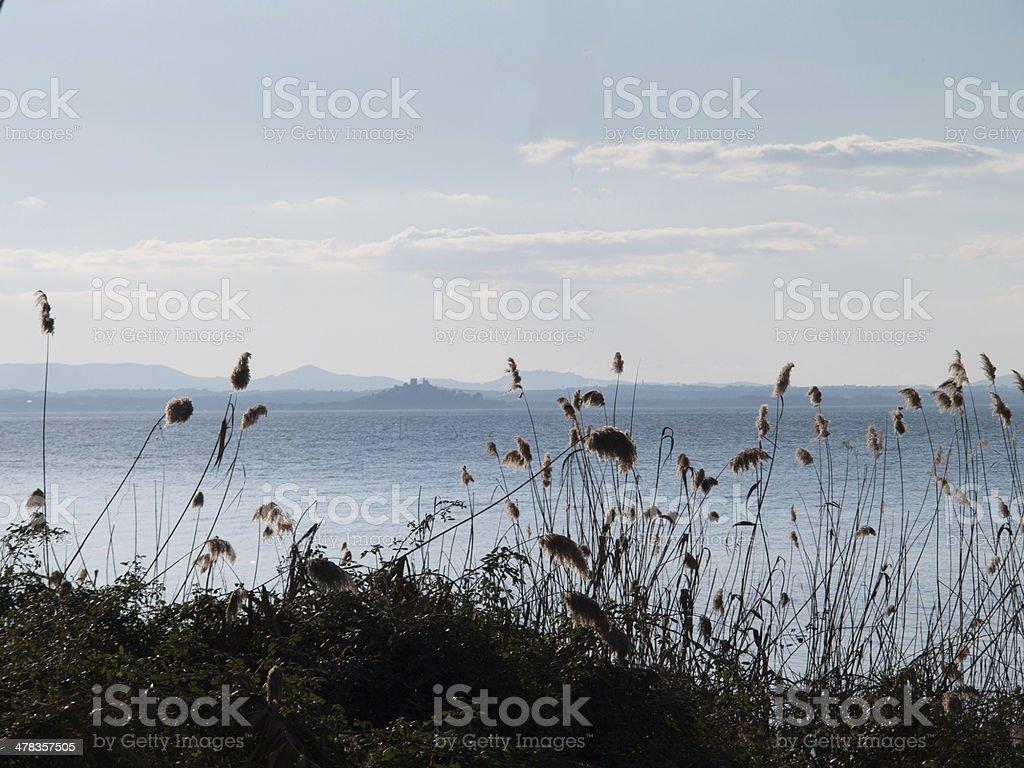Lake Trasimeno with Castiglione del Lago in the distance stock photo
