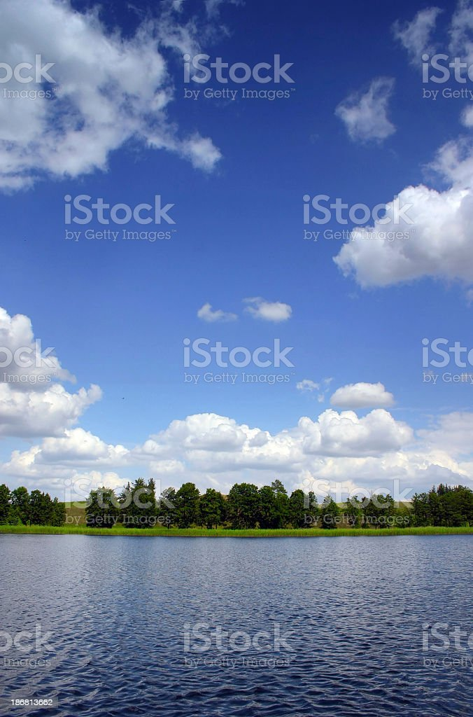 Lake trees and blue sky royalty-free stock photo