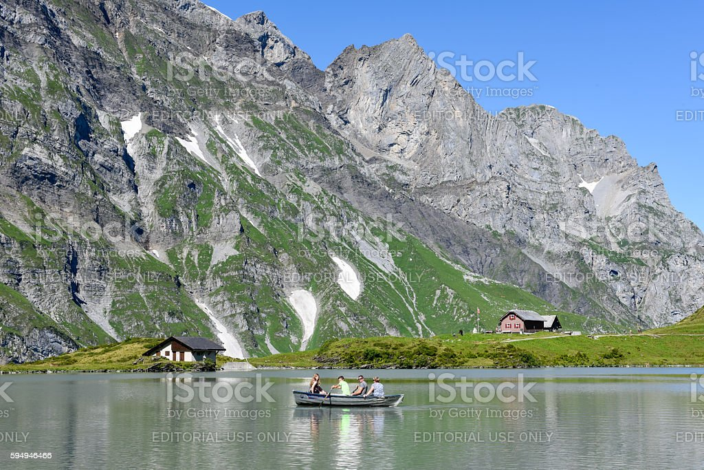 Lake Truebsee over Engelberg on the Swiss alps stock photo