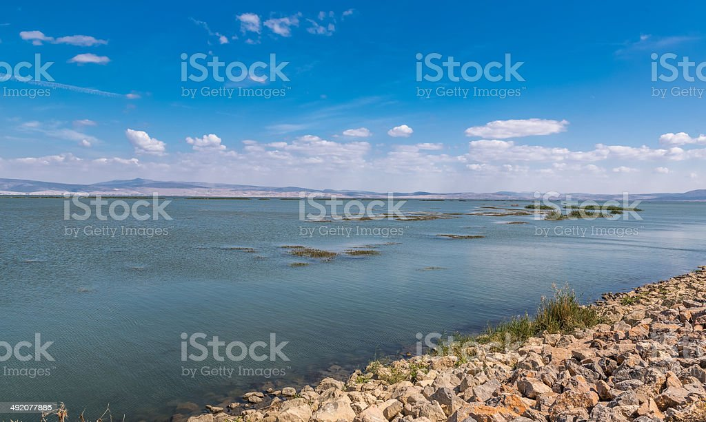 Lake under cloud stock photo
