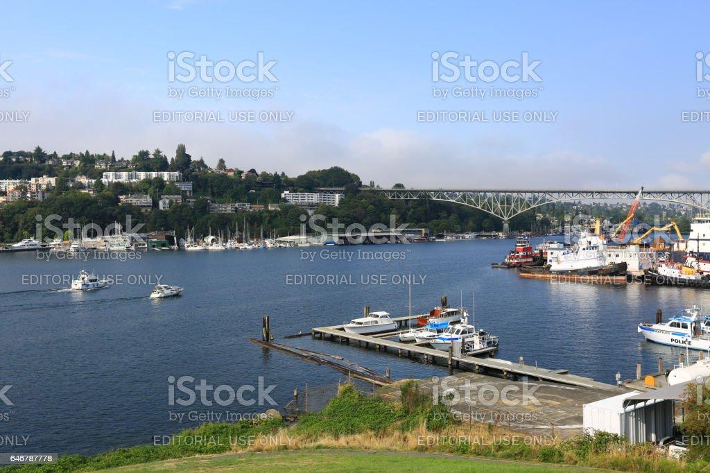 Lake Union and Aurora Bridge stock photo