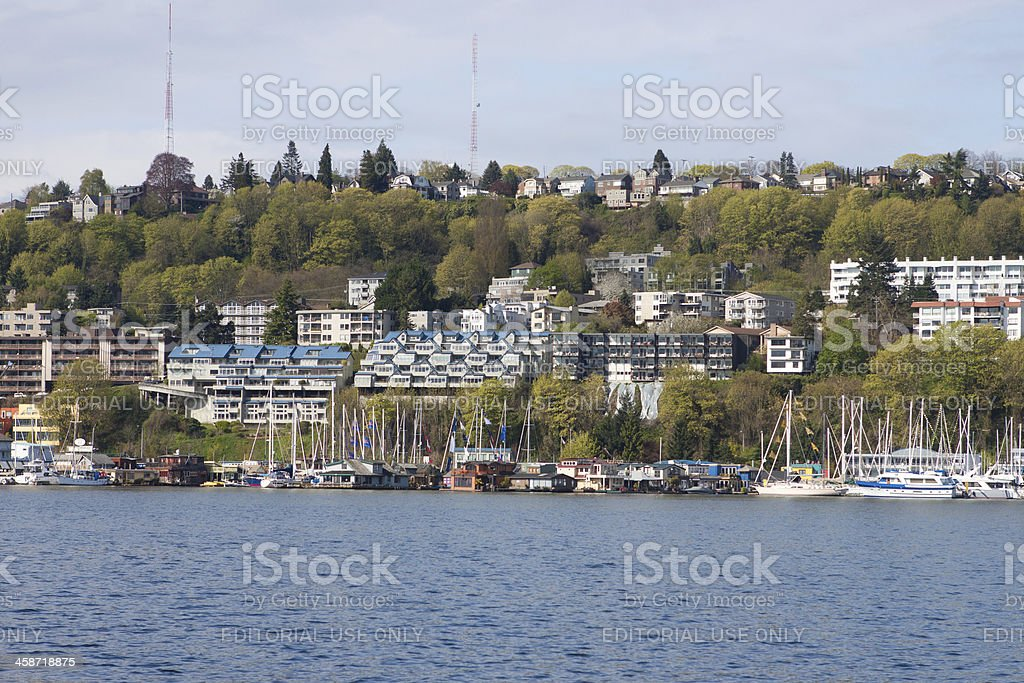 Lake Union and Queen Anne Hill stock photo