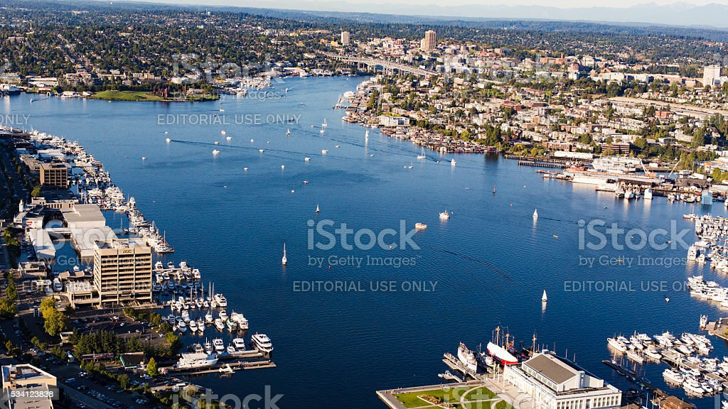 Lake Union Seattle, Washington Aerial Overview Looking North stock photo