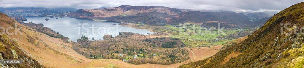 Lake, valley, village, mountains stock photo
