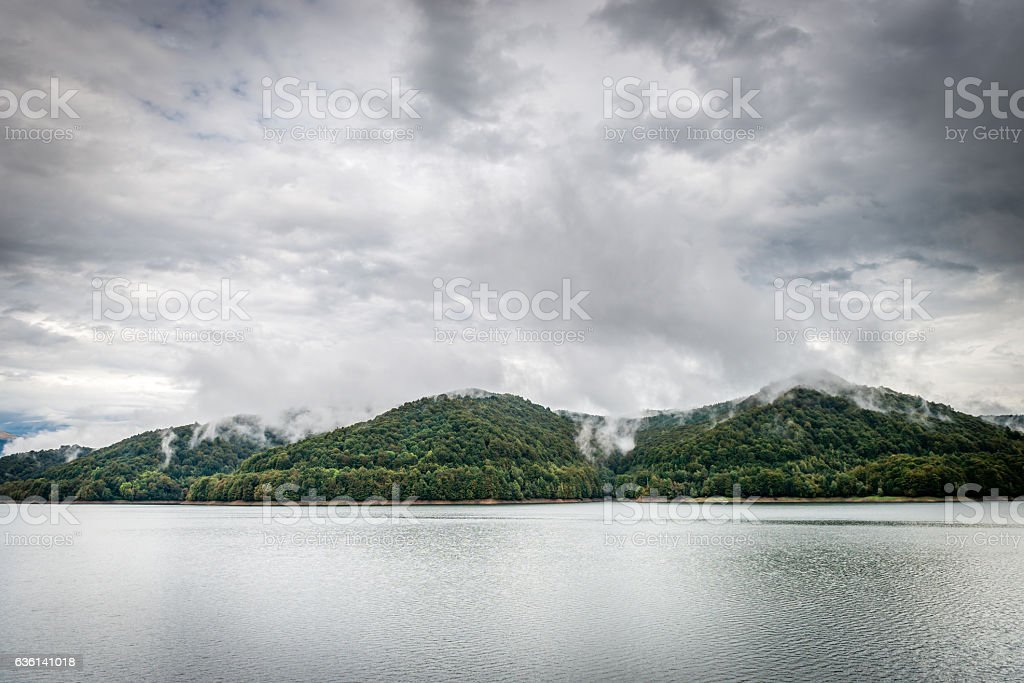 Lake Vidraru on the dam in Carpathian mountains, Romania stock photo