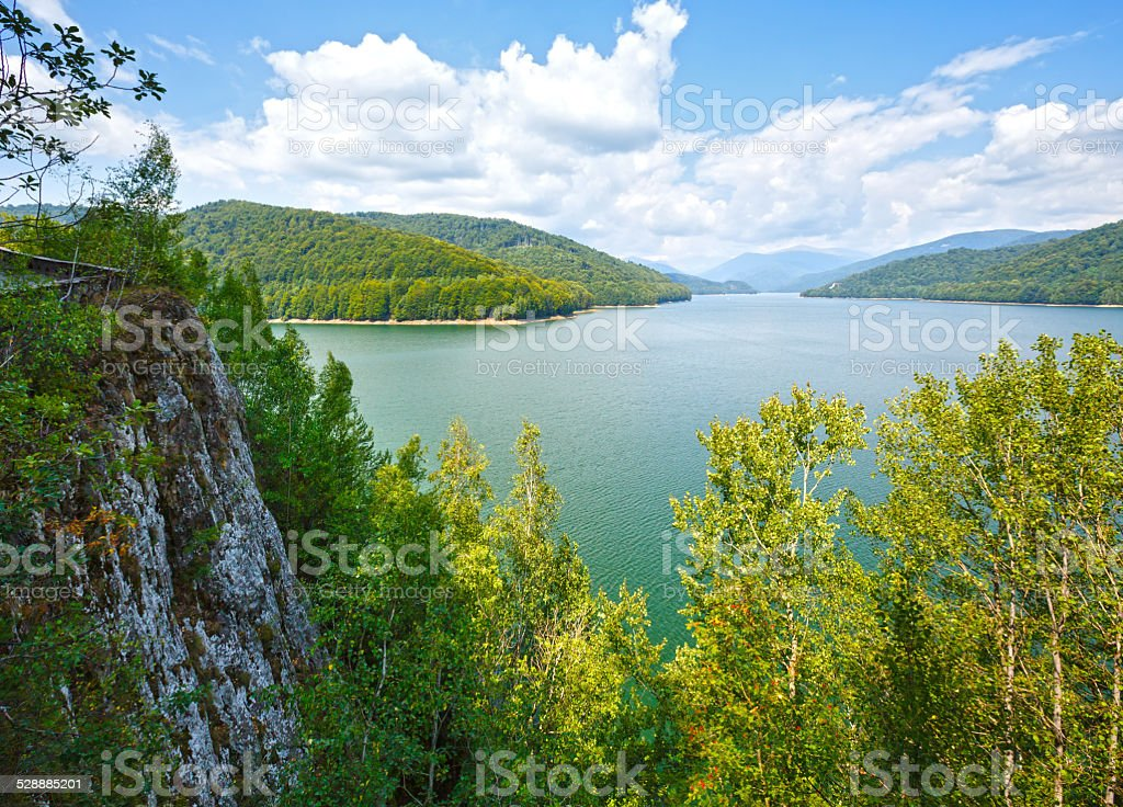 Lake Vidraru summer landscape (Romania). stock photo