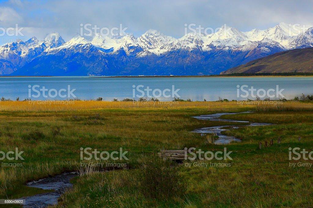 Lake Viedma and river near Chalten, Patagonia Argentina, Glaciares stock photo