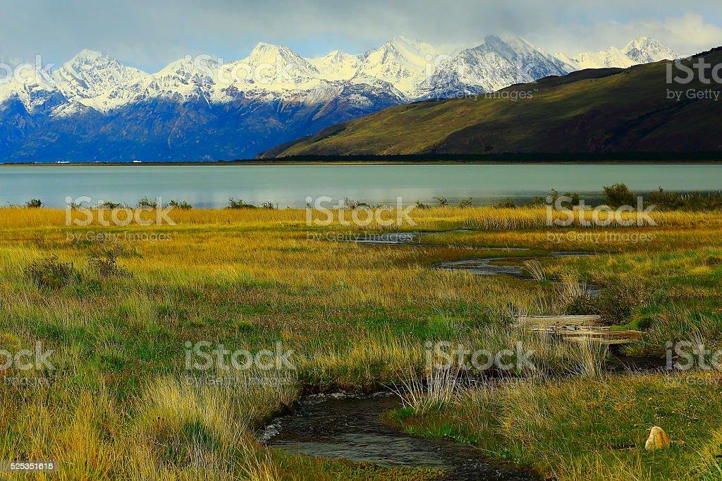 Lake Viedma, river stream - Chalten, Fitzroy, Patagonia Argentina stock photo