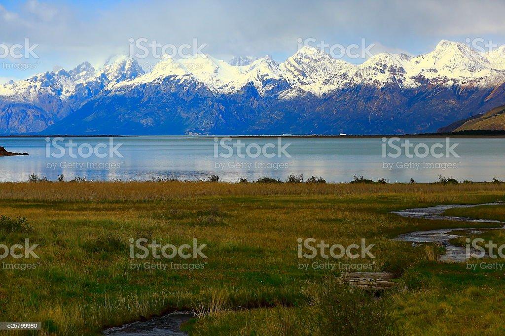 Lake Viedma, river stream - Chalten, Fitzroy, Patagonia Argentina, Glaciares stock photo