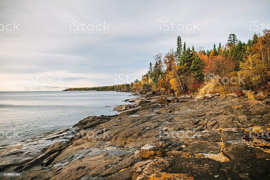 Lake view from Lake Superior North Shore in autumn. stock photo