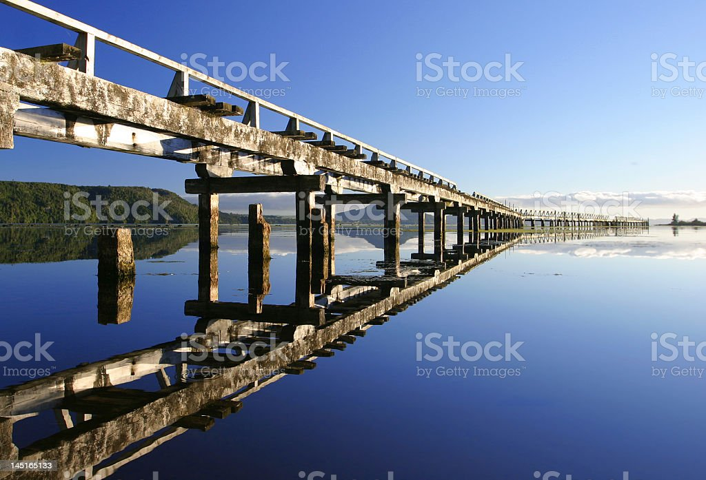Lake view from the dock in a still morning royalty-free stock photo