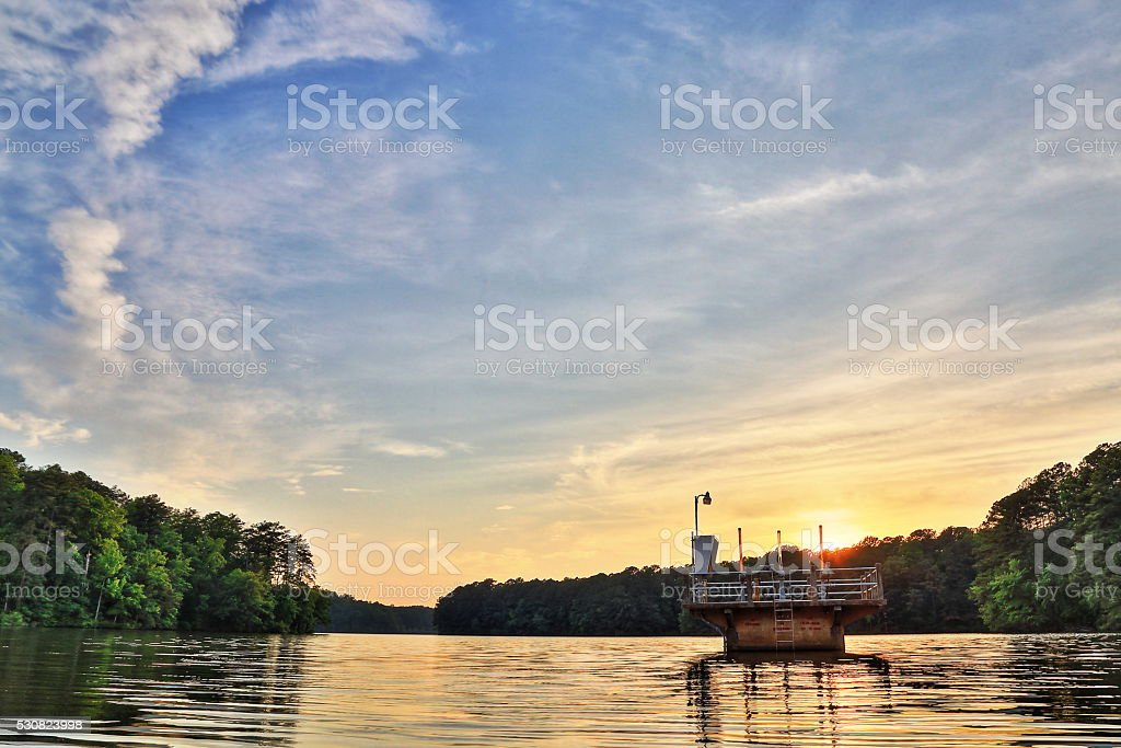 Lake view on the sunset. stock photo